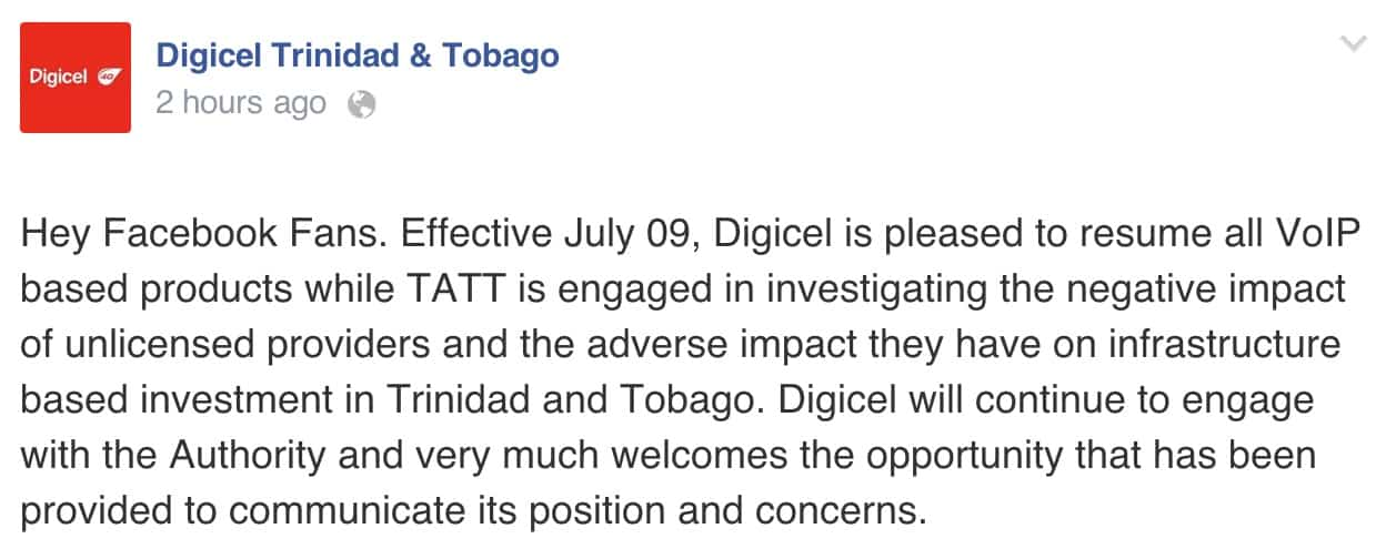 DigicelTT's Facebook statement.