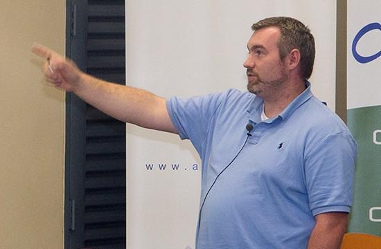 ARIN's Steve Scally presents on IPv6 status at CaribNOG 2012. Photograph by Mark Lyndersay