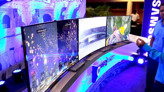 Samsung's U9000 UHD series curved television displays on show at the company's T&T launch at Queen's Hall on Thursday evening. Photograph by Mark Lyndersay.