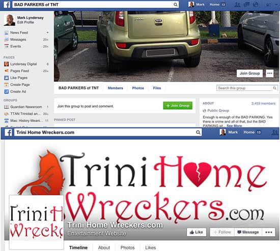 The popular Facebook pages of the issue specific social intervention websites Bad Parkers of T&T and TriniHomewreckers.com.