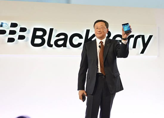 BlackBerry Executive Chairman and CEO John Chen holds the company's new Passport phone aloft at the launch event on Wednesday last week. Photo courtesy BlackBerry.