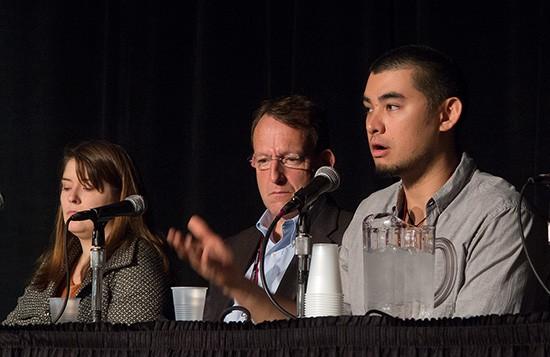 Delphine Hagland, Santiago Ryan and Antonio Bolfo speak at PhotoPlus Expo last week. Photo by Mark Lyndersay.