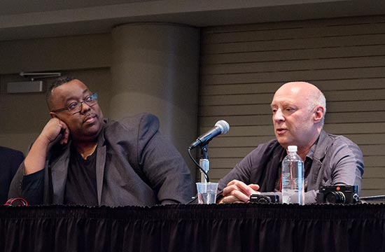 Adobe's Terry White listens to David Vashevitch as he discussed asset management as part of storytelling at PhotoPlus Expo last month. Photo by Mark Lyndersay.