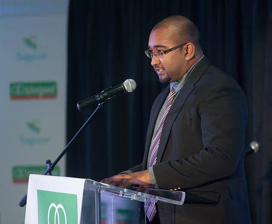 Shevvon Ramroop of Alliance Software introduces the new Petrocard app from Unipet at the Radisson Hotel last week. Photo by Mark Lyndersay.