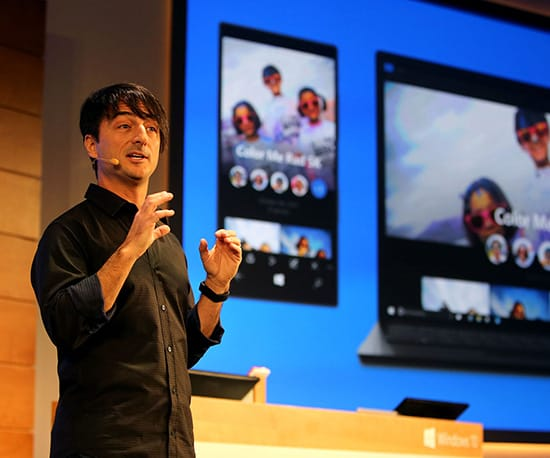 Microsoft's Joe Belfiore explains the new photo organisation features of Windows 10. Photo courtesy Microsoft.