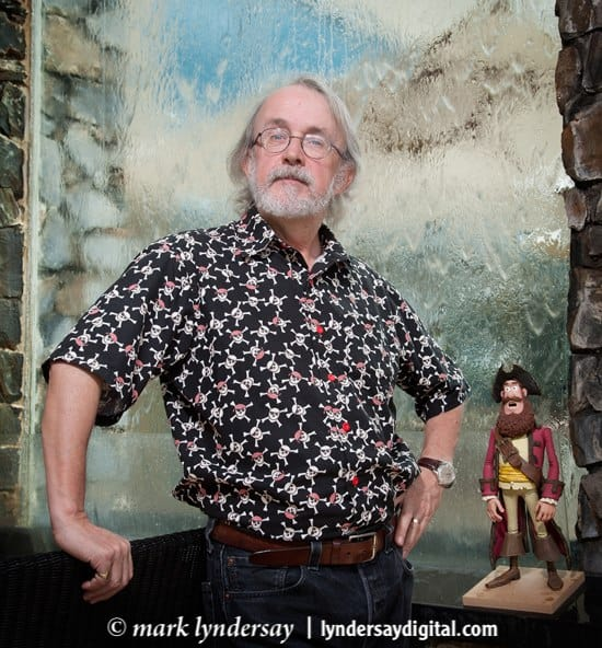 Peter Lord with a working model of The Pirate Captain. Photographed at the Hyatt by Mark Lyndersay.