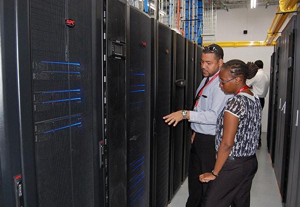 Digicel IT technicians at the new datacentre. Photo courtesy Digicel.