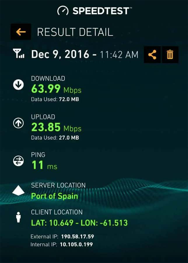 bmobile's 4GLTE speeds on launch day at TSTT house. Service is dramatically spotty at launch.