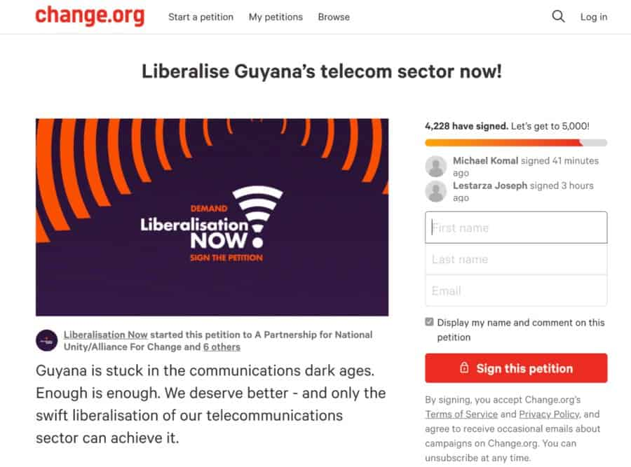 Digicel supports Guyana #LiberalisationNOW petition